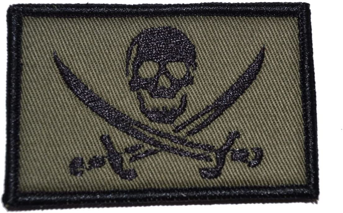 Pirate Jolly Roger 2x3 - In shopping a popularity Drab Olive Patch