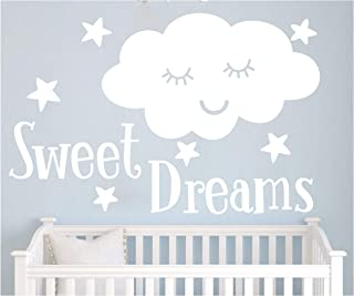 JUXUOXIN Sweet Dreams with Smile Cloud Stars Wall Decal Art Vinyl Sticker Quote Lettering Decoration Removable Baby Girl Boy Kids Nursery Room Decor YMX32 (White, 88X57CM)