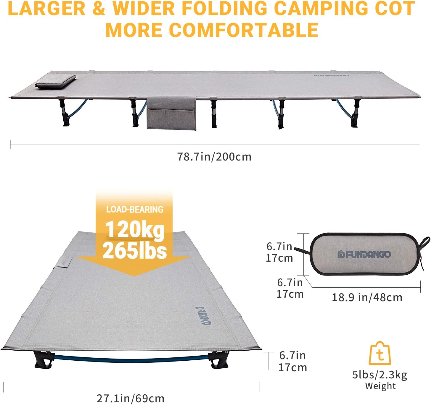 Support 265lbs Backpacking Camping 78.7 x 27.1 x 6.7/'/' // 5lbs Hiking Indoor Travel Office Nap Outdoor FUNDANGO Extra Long Ultralight Folding Compact Camping Cot Bed Side Pocket for Adult