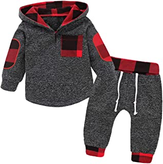 Christmas Toddler Baby Boy Girl Clothes Plaid Pocket Hoodie Sweatshirt+Pants Xmas Outfits Set