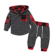 Toddler Baby Boy Girl Clothes Plaid Pocket Hoodie Sweatshirt+Pants Outfits Set (GreyRed/80)