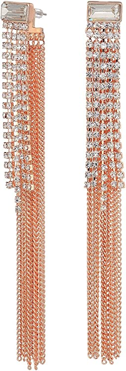 Fringe Chain and Rhinestone Linear Drop Earrings