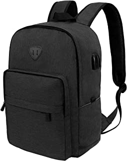 "ibagbar Laptop Backpack, Lightweight Water Resistant School Rucksack Travel Backpack with USB Charging Port and Headphone Jack Fits 15.6"" Laptop & Notebook for Men and Women -Black Update"