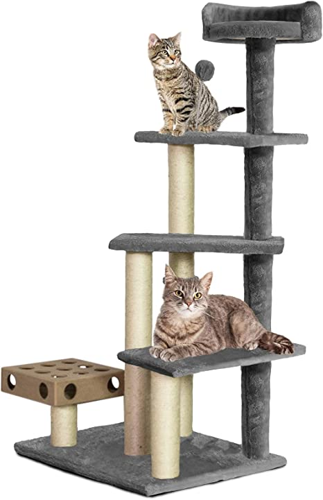 Amazon Com Furhaven Pet Cat Tree Tiger Tough Cat Tree House Perch Entertainment Playground Furniture For Cats And Kittens Play Stairs Gray Pet Supplies