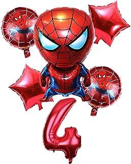 Globos de cumpleaños 6 PCS Spiderman Digital Aluminio Balloon Dibujos animados Inflables Juguetes Niños Fiesta de cumpleaños Decoración de la Fiesta Decoración de la pared Conjunto ( Color : 4 )