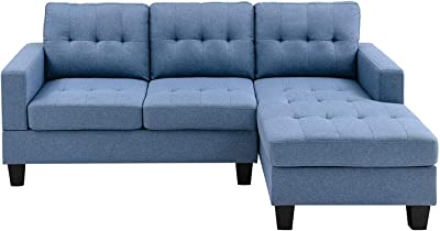 Amazon Com Beey Sectional Sofa L Shape Sofa Couch 3 Seat Sofas Bed For Living Room Bedroom Home Small Space Blue Kitchen Dining