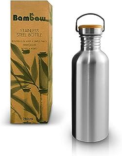 Bambaw Botella Agua Acero Inoxidable | Botella Ecológica | Cantimplora De Acero Inoxidable | Fácil De Limpiar | Botella De Agua Reutilizable | Botella Agua Niños | Botella Libre BPA