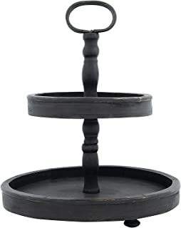 Creative Co-op Distressed Wood 2-Tier Tray with Metal Handle, Black