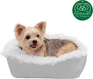 Furhaven Pet Dog Bed   Convertible Insulated Thermal Self-Warming Plush Faux Fur Cuddle Nest Lounger Pet Bed for Dogs & Cats, Silver, Small