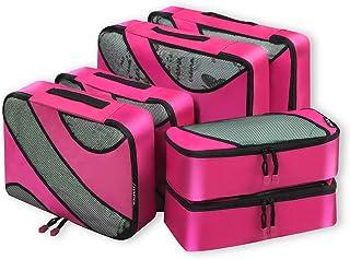 Bagail 6 Set Packing Cubes,3 Various Sizes Travel Luggage Packing Organizers Fushcia