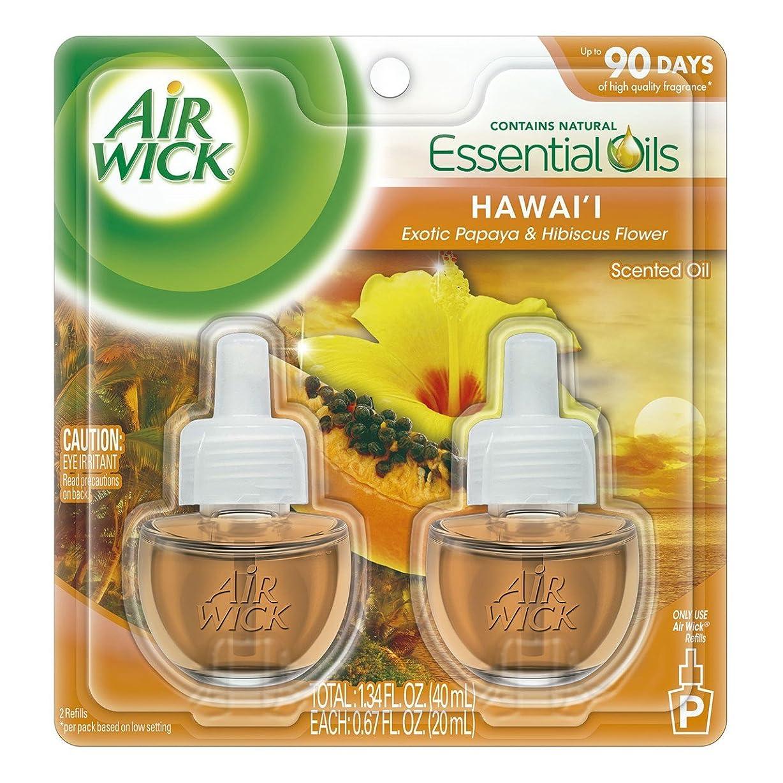 プロポーショナル飾るもちろん【Air Wick/エアーウィック】 プラグインオイル詰替えリフィル(2個入り) ハワイ エキゾチックパパイヤ&ハイビスカスフラワー Air Wick Scented Oil Twin Refill Hawaii Exotic Papaya & Hibiscus Flower (2X.67) Oz. [並行輸入品]
