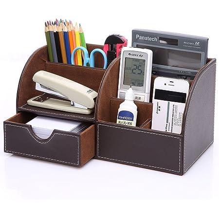 KINGFOM PUレザー デスク収納ボックス/収納ケース 卓上オーガナイザー ペン/鉛筆立て 文房具収納 文具スタンド リモコン/小物/雑物収納 引き出しつき おしゃれ (ハフレザー-ブラウン)