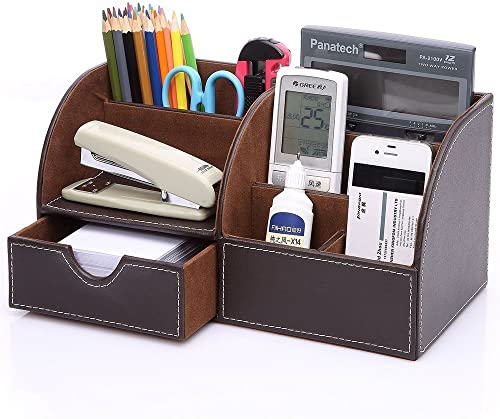 KINGOM 7 Storage Compartments Multifunctional PU Leather Office Desk Organizer,Desktop Stationery Storage Box Collect...