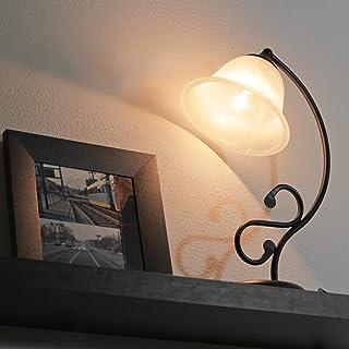 Lámpara de mesa rústica negra mate con cristal de alabastro 1/5/918 lámpara de mesa, estilo rústico