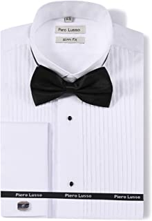Piero Lusso Men`s Wingtip Collar Tuxedo Dress Shirt with French Cuffs and Bow Tie