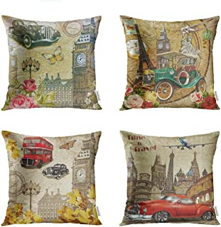 Semtomn Set of 4 Throw Pillow Covers 18x18 Inch Sign London Vintage Travel 1950S 1960S 1970S Aged Auto Home Decor Cushion Covers Square Pillowcases for Sofa Bed