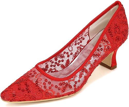 zapatos De La mujer De La Boda zapatos Personalizados De Encaje Altos apuntados Cómodos Yards Grande