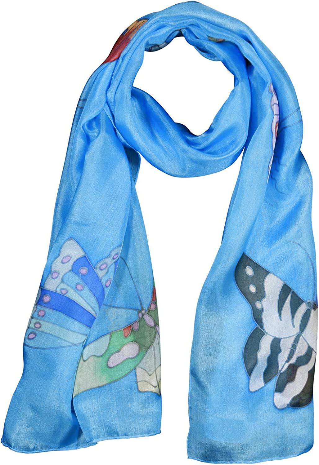 Invisible World Women's 100% Mulberry Silk Scarf Hand Painted Butterfly Sky bluee