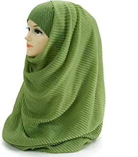 Large Size 180cm90cm Pleated Crinkle Women's Hijab Scarf Muslim Head Wrap Shawl Plain Colours