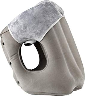 simptech Inflatable Travel Pillow,Airplane Pillow with Super Soft Slipcover, Big Valve Design Inflate and Deflate in Seconds, Unfolding Used As Lumbar Support (Grey, Travel Pillow)
