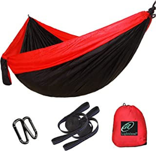 Lightahead Single & Double Parachute Portable Camping Hammock Including 2 Straps & Carabiners– Heavy Duty Lightweight Nylon,  Best Parachute Hammock for, Camping,  Travel,  Beach,  Garden.