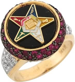 10k Gold Simulated Ruby White CZ Onyx Enamel Eastern Star Stylish Ring