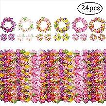 Yojoloin 24 Stück Hawaiian Leis Luau Blumen mit 12 Armbänder 6 Stirnbänder und 6 Halsketten für Luau Hawaiian Party Dekorationen Zubehör Photo Booth Props.