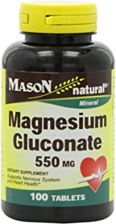 Mason Natural, Magnesium Gluconate 550 Mg Tablets, 100-Count Bottles (Pack of 3), Dietary Supplement Supports Muscle Regulation, Nerve Function, Blood Pressure, Bone Formation, and Heart Health