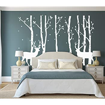 Amazon Com Aiyang Birch Tree Wall Stickers Deer Wall Decor Birds Stickers Nursery Wall Arts Bedroom Living Room Decoration 7sets Grey Kitchen Dining