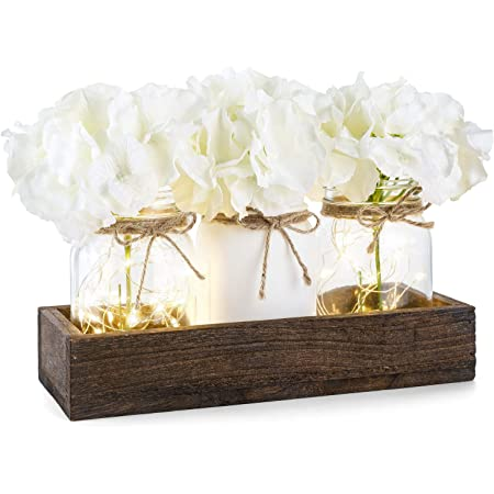 Mkono Lighted Floral Mason Jar Centerpiece Decorative Wood Tray With 3 Painted Jars Rustic Country Farmhouse Home Decor For Herb Plants Coffee Table Dining Room Living Room Kitchen Utensils Holder Home