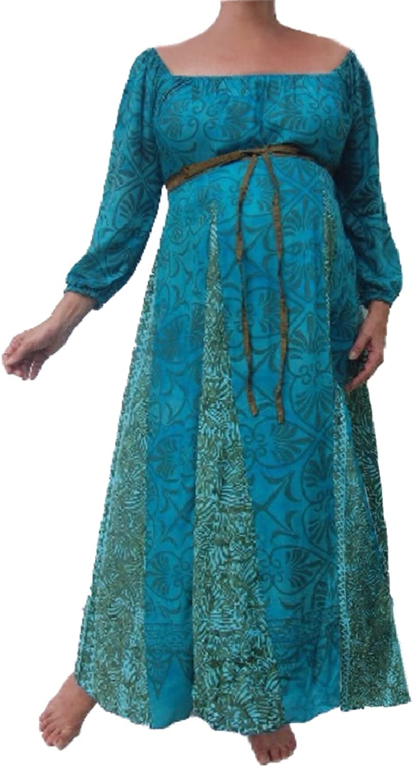 LOTUSTRADERS Maternity Peasant Dress Empire Inset Batik Turquoise Khaki MB582