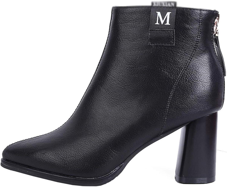 GTVERNH Women's shoes Pointed Head High-Heeled Bare Boots Back Zipper Velvet Martin Boots 7Cm Joker Rough Heel Short Boots Women's shoes.