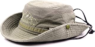 Sun Hat for Men, Cotton Embroidery Summer Outdoor Sun Protection Wide Brim Bucket Hat Foldable Safari Boonie Hat