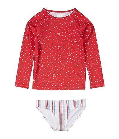 Roxy Kids Lake Of Stars Long Sleeve Lycra Swim Set (Toddler/Little Kids/Big Kids) (Lipstick Red Stars Dots) Girl
