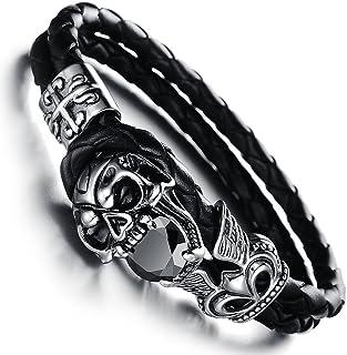 Epinki Mens Stainless Steel Genuine Leather Bracelet Bangle Cuff Black Biker Braided Punk Rock