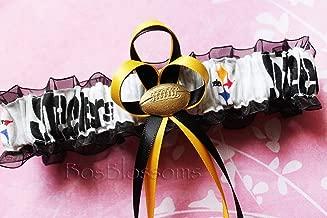 Customizable - Pittsburgh Steelers white fabric handmade into garter on black organza bridal prom wedding garter with football charm
