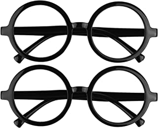 BCP 2 Pieces Plastic Wizard Glasses Round Glasses Frame No Lenses for Costume Party Supplies Black Color