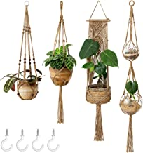 Mkono Macrame Plant Hangers Set of 4 Indoor Wall Hanging Planter Jute Basket Decorative Flower Pot Holder with 4 Hooks for...