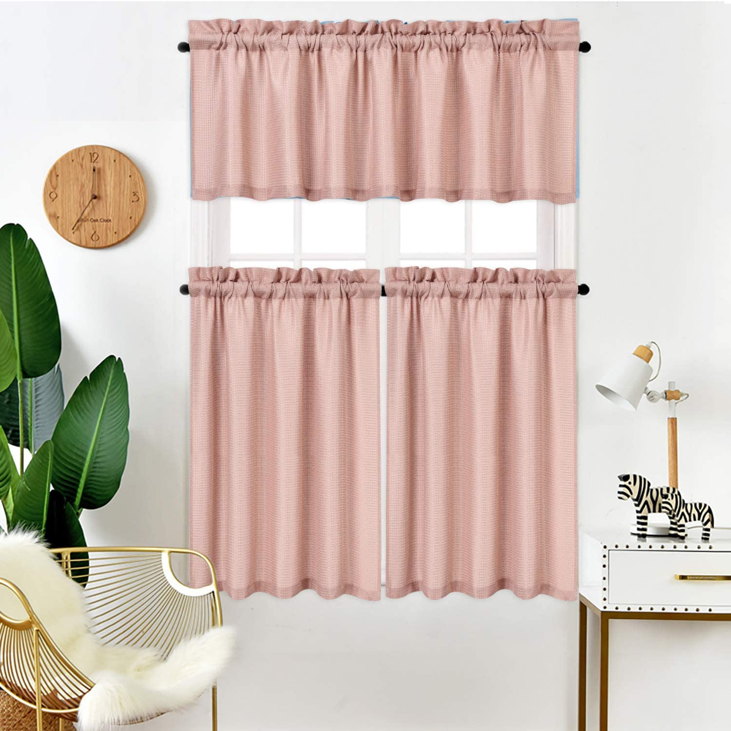 Idealhouse Coral Tier Curtains Waffle Woven Textured Short Window Curtain For Cafe Bathroom Kitchen Kids Bedroom Rod Pocket Curtains 2 Panels 30inch Wide By 24inch Long Home Decor Home Kitchen Guardebem Com