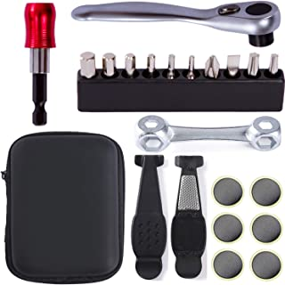 NAMUCUO Bike Repair Tool Kit Set - Bicycle Multi-Tool Kit with Ratchet Reversible Tool & 10 Tool bits, Bone Wrench, Bike Portable Tool Bag. 6 Month Warranty