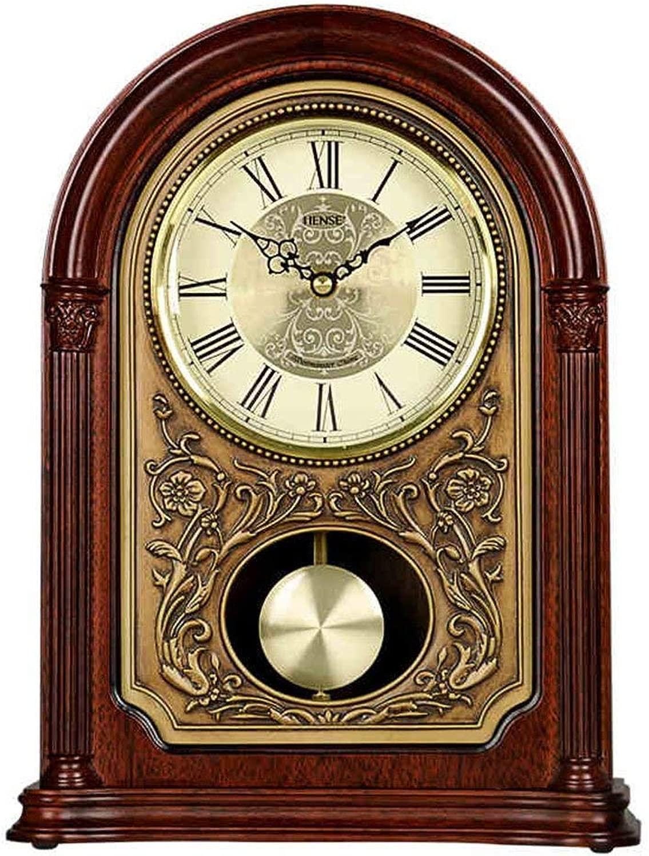 卓上時計ファミリークロックリポート正確にはテーブルクロックマントルクロックのリビングルームの寝室ヴィンテージソリッドウッド製クォーツ時計の装飾品24.5X10X33cmリビングルームのベッドルームに最適