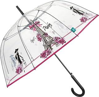 Parapluie Transparent Paris Femme - Grand Parapluie Cloche Dome avec Motif Roses et Tour Eiffel à la Mode - Parapluie Clai...