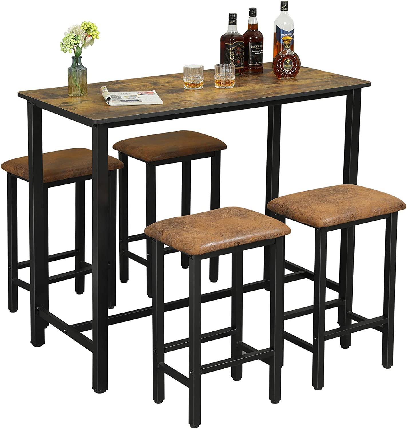 DICTAC Bar Table Set, Bar Table with 9 Bar Stools, Dining Room Table Set,  Counter high Kitchen 9 Piece Bistro/Pub Table Set, Industrial Table and ...