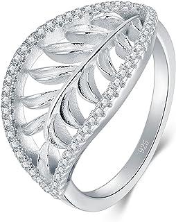BORUO 925 纯银戒指,夏威夷叶高抛光舒适贴合婚戒
