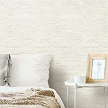 RoomMates Beige & Grey Grasscloth Peel and Stick Removable Wallpaper