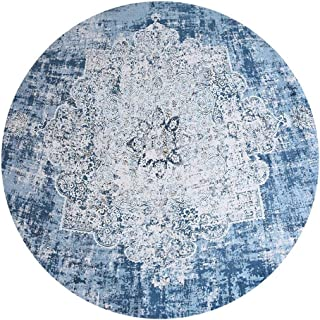 Traditional Vintage Nordic Bohemian Round Rugs Faded Large Carpet Floor Mat for Living Room Bedroom (Water Blue, 160cm)