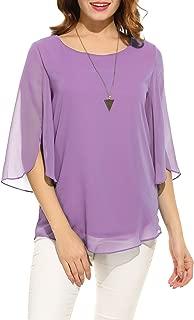 ACEVOG Womens Casual Scoop Neck Loose Top 3/4 Sleeve Chiffon Blouse Shirt Tops
