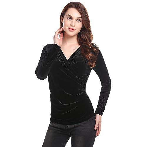 c0c66102c34f5b ThinIce Womens Long Sleeve Wrap Top Deep V Neck Drape Tshirt with Side  Shirring