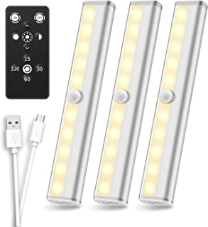 Anbock Wireless Under Cabinet Kitchen Lighting USB Rechargeable Remote Control Closet Light Timing, Stick on Lights for Counter Hallway Stairs Shelves Cupboard Pantry Bathroom Warm White 3000K 3 Pack