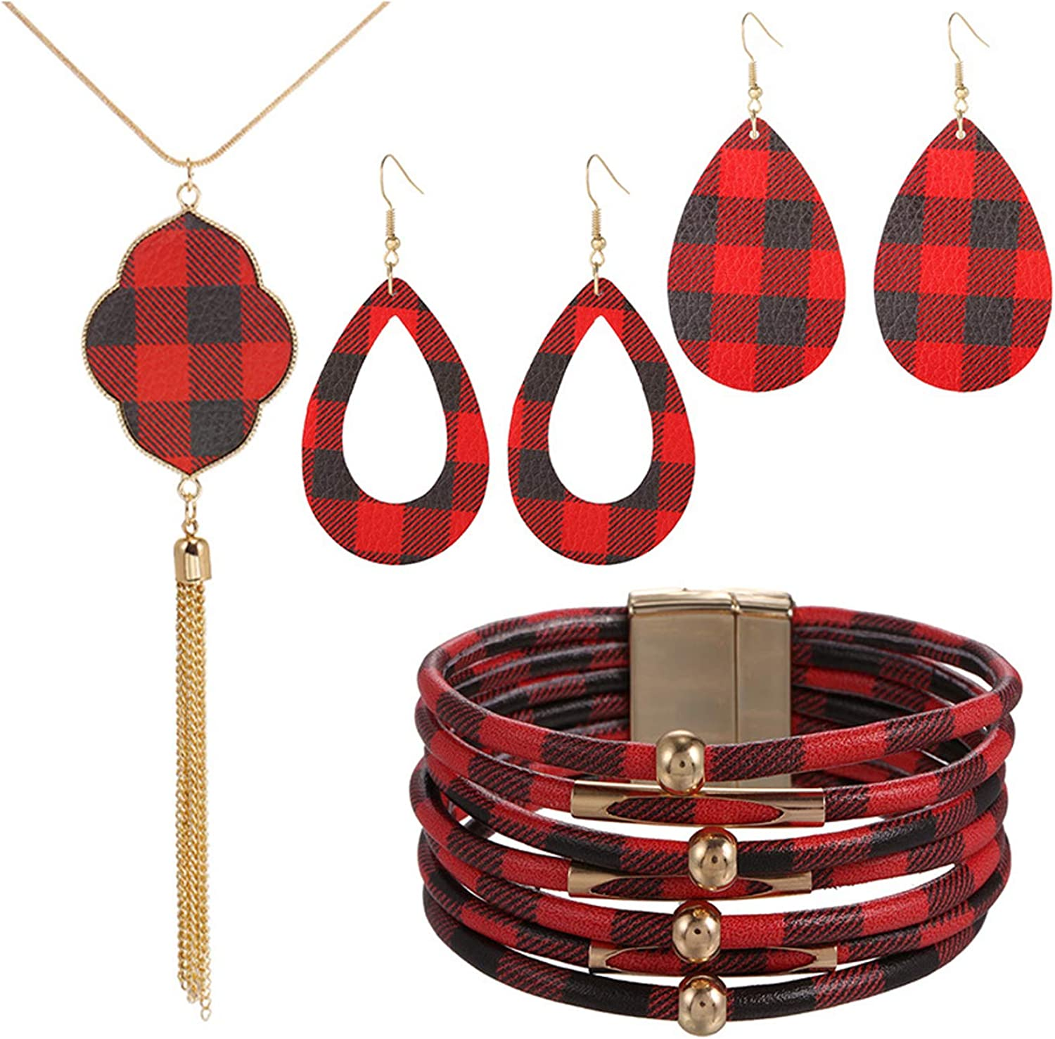 FUTIMELY 4 Pieces Christmas Plaid Jewelry Set Gifts for Women,Christmas Red Black Buffalo Plaid Print Earrings and Multi-Layer Bracelet Faux Leather Necklace Set